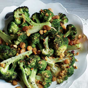 Roasted Broccoli with Pistachios and Pickled Golden RaisinsRecipe