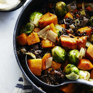 Roasted Fall Vegetables with Lentils and Spices Recipe