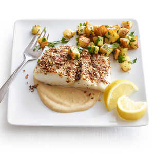 Roasted Halibut with Tahini SauceRecipe