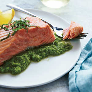 Roasted Salmon with Pea PureeRecipe