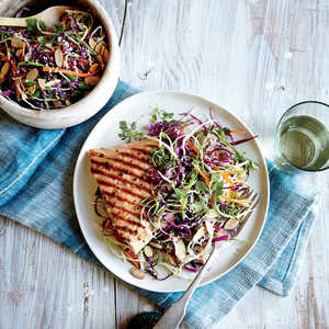 Sesame Cabbage Salad with Grilled Salmon Recipe