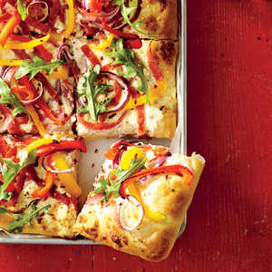 Sheet Pan White Pizza with Salami and Peppers Recipe