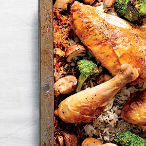 Simple Whole Chicken with Roasted Broccoli-Mushroom RiceRecipe