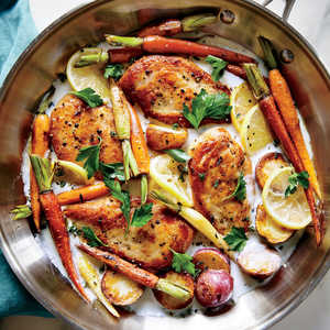 <p>Skillet Chicken with Roasted Potatoes and Carrots</p>