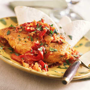 Smoked Chicken with Roasted-Red Pepper SauceRecipe