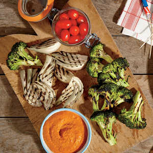 Smoky Red Pepper Dip with Grilled CruditésRecipe