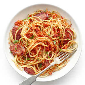Spaghetti with Chorizo and Toasted Paprika Bread CrumbsRecipe