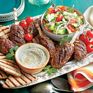 Spiced Beef Kabobs with Herbed Cucumber and Tomato SaladRecipe