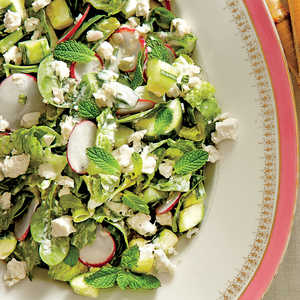 Spinach-and-Romaine Salad with Cucumbers, Radishes, and Creamy Mint Dressing Recipe