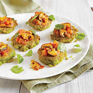 Split Pea Mini Pancakes with Mushroom RelishRecipe
