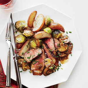 Steak Diane with Crispy Garlic Potatoes and Brussels Sprouts Recipe