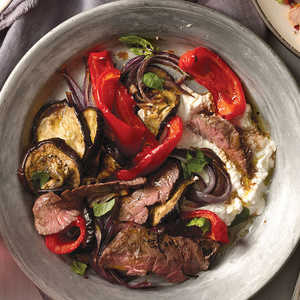Steak Salad with Eggplant, Peppers and OnionRecipe