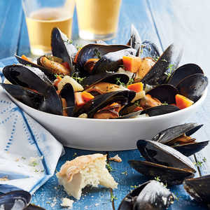 Steamed Mussels with Root Vegetables Recipe