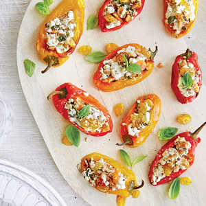 Stuffed Peppers with Chèvre, Pecans, and Golden RaisinsRecipe