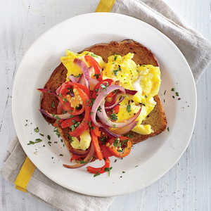 Sweet and Hot Pepper Open-Faced Egg SandwichesRecipe