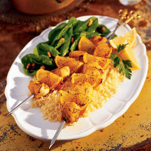 Sweet-and-Sour Chicken-Apricot SkewersRecipe