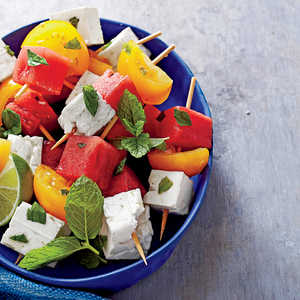 Tomato, Watermelon, and Feta Skewers with Mint and LimeRecipe