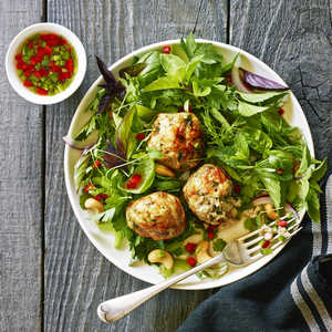 Turkey Meatballs with Herb SaladRecipe