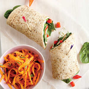 Turkey and Swiss Wrap with Carrot Salad Recipe