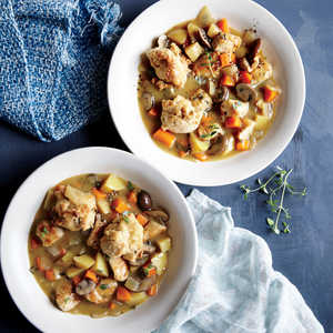 Turkey and Vegetable Stew with Whole-Grain Biscuits Recipe