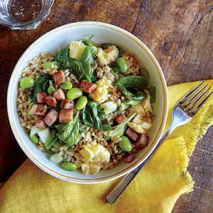 Veggie Fried Rice with Crispy HamRecipe