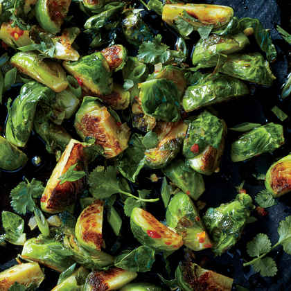 Caramelized Brussels Sprouts with Green Onions and Cilantro