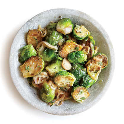 Braised Brussels Sprouts with Mustard and Thyme