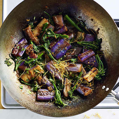 Braised Eggplant and Broccolini with Fried Ginger