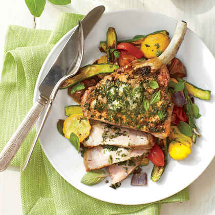 Broiled Pork Chops with Basil Butter and Summer Squash