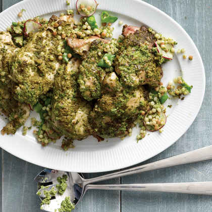 Roast Chicken With Peas and Pasta