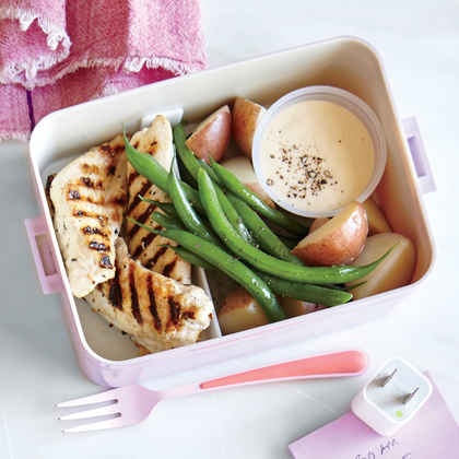 Chicken, Potato, and Green Bean Dippers with Honey Mustard