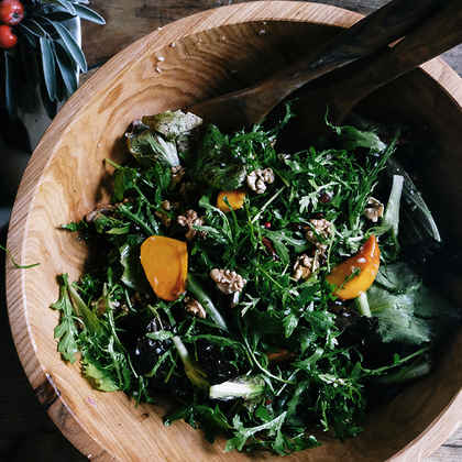 Chicory Salad with Persimmons, Pomegranates, and Walnuts