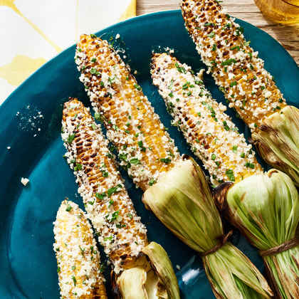 Elote-Style Corn with Cotija and Spicy Cilantro Cream