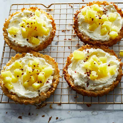 Coconut Tartlets with Poached Pineapple