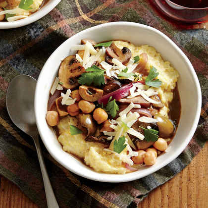 Creamy Polenta with Mushrooms, Chickpeas, and Olives