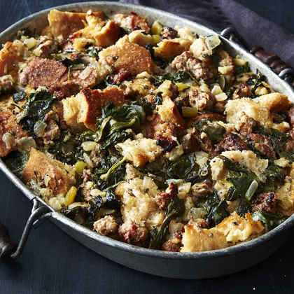 Crisp-Top Sourdough Stuffing with Sausage and Greens