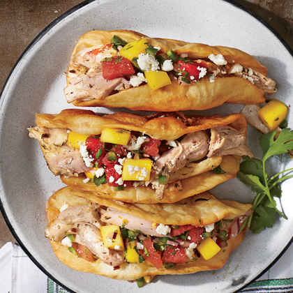 Crunchy Jerk Tacos with Watermelon-Mango Salsa