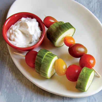 Cucumber-Tomato Skewers with Dilly Sauce