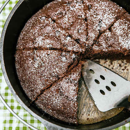 Dutch Oven Double Chocolate Cake