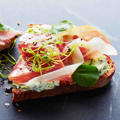 Green Garlic Prosciutto Toasts