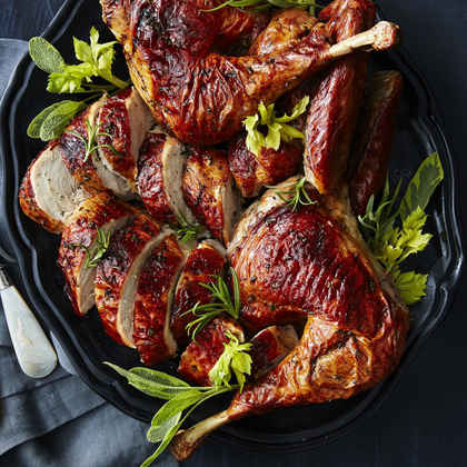 Grilled Butterflied Turkey with Celery Herb Rub