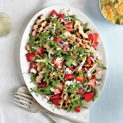 Grilled Chicken Salad with Strawberries and Feta