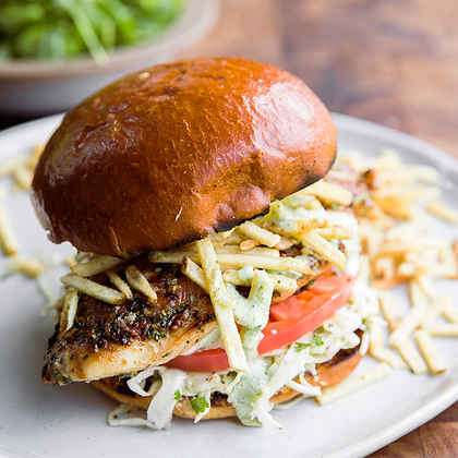 Grilled Chicken Sandwiches with Creamy Jalapeño Sauce and Potato Chips