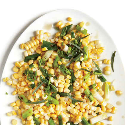 Grilled Green Onions with Corn and Tarragon