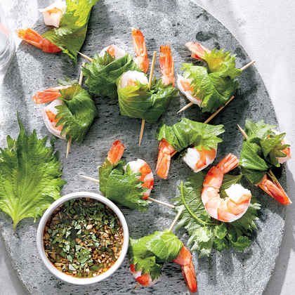 Herb-Wrapped Shrimp with Lemongrass Dipping Sauce