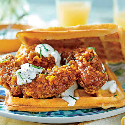 Hot Chicken-and-Waffle Sandwiches with Chive Cream