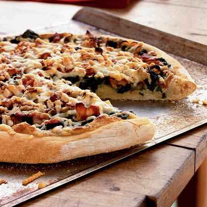 Spinach, Caramelized Onion, and Bacon Pizza