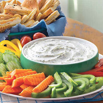 Creamy Dill Dip with Pita Chips ($1)