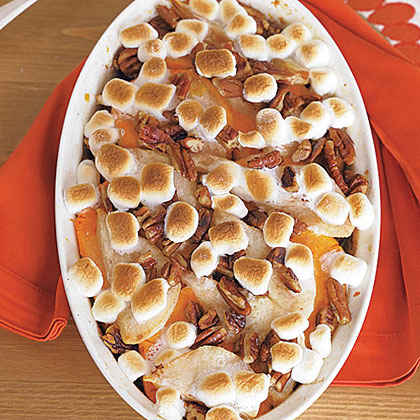 Sweet Potato Casserole with Pears and Marshmallows