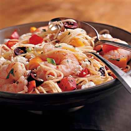 Pasta Salad with Shrimp, Peppers, and Olives